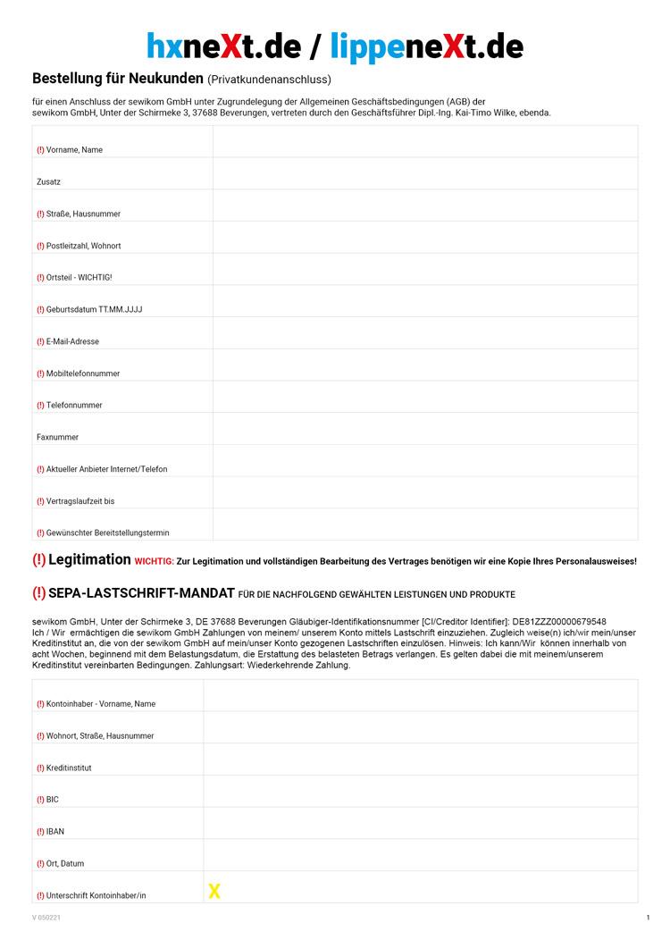Anbieterwechselformular